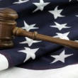 Judges gavel and AmericFlag — Stok Fotoğraf #38780657