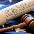 Stock Photo: US Constitution and gavel