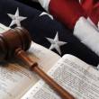 Gavel over book with flag — Stock Photo #38780867