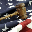 Stock Photo: Judges gavel and AmericFlag