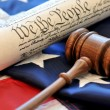 Stock Photo: Gavel, US constitution, and flag