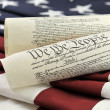 Stock Photo: US Constitution and flag