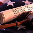 Stock Photo: Americflag and US Constitution
