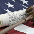 Stock Photo: Constitution document, gavel, and Americflag