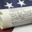 Stock Photo: Constitution with AmericFlag