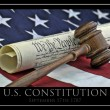 Stock Photo: Constitution document, gavel and Americflag
