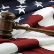 Judges gavel and AmericFlag — Stok Fotoğraf #38781927