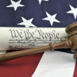 Stock Photo: US Constitution, gavel, and Americflag