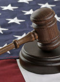 Judges gavel and American Flag — Stock Photo