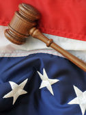Gavel and American flag — Stock Photo
