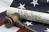 US Constitution, gavel and flag — Stock Photo