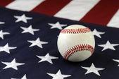 Baseball and flag — Stock Photo