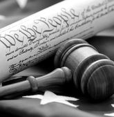 Gavel, flag, and US document — Stock Photo