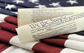 US Constitution and flag — Stock Photo