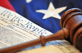 Gavel, US constitution, and flag — Stock Photo