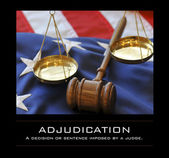 Gavel and scales atop flag — Stock Photo
