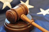 American flag and judicial symbols — Stock Photo