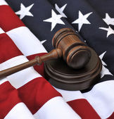 American flag and judicial symbols — Stock Photo