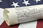 Constitution with American Flag — Stock Photo