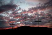 Three crosses on a hilltop — Stock Photo