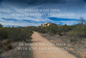 Road in desert with quote — Stock Photo