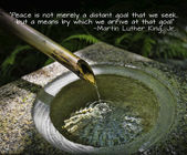 Japanese Garden Water Feature with quote — Stock Photo