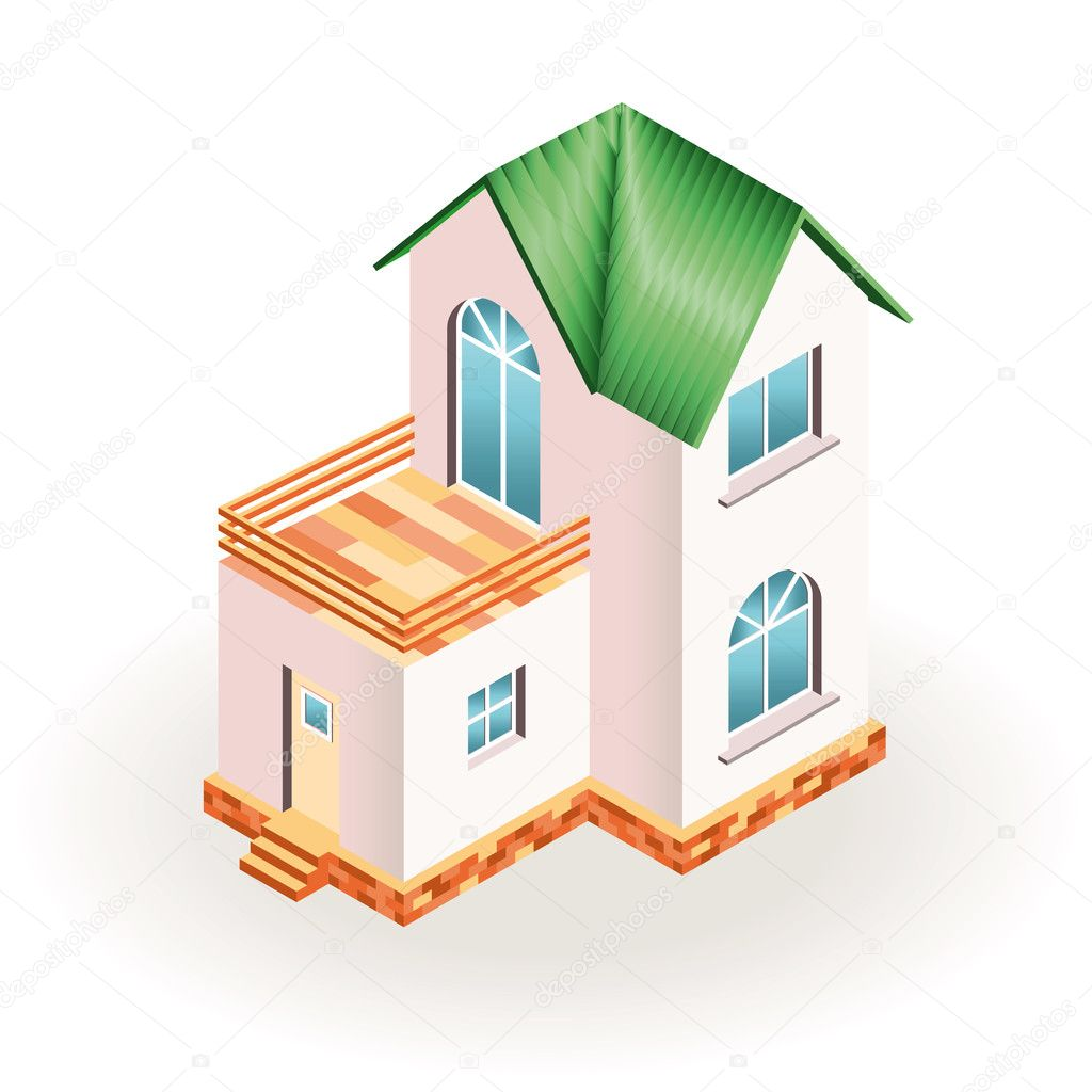 Two story small house with terrace and green roof three for 3 dimensional drawing software