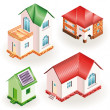 Set of four models of three dimensional residential houses - Stock Vector