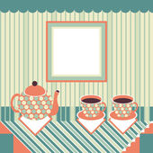 Retro style teapot and two cups standing on table — Stock Vector