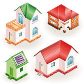 Set of four models of three dimensional residential houses — Stock vektor
