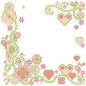Elegant floral background with hearts — Stock Vector