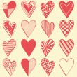 16 hand drawn different hearts — Stock Vector