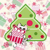 Kleine katze mit geschenk in der nähe der stilisierten weihnachtsbaum — Stockvektor