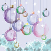 Light decorative glass balls over soft blue background. Eps10 — Cтоковый вектор