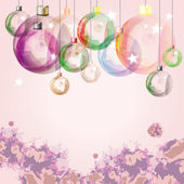 Light decorative glass balls over soft pink background. Eps10 — Stock Vector