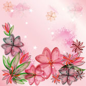 Floral design with transparent watercolor flowers — Stock Vector