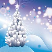 Stylizowane pocztówki świąteczne z drzewa biały na niebieskim tle. eps 10 — Wektor stockowy