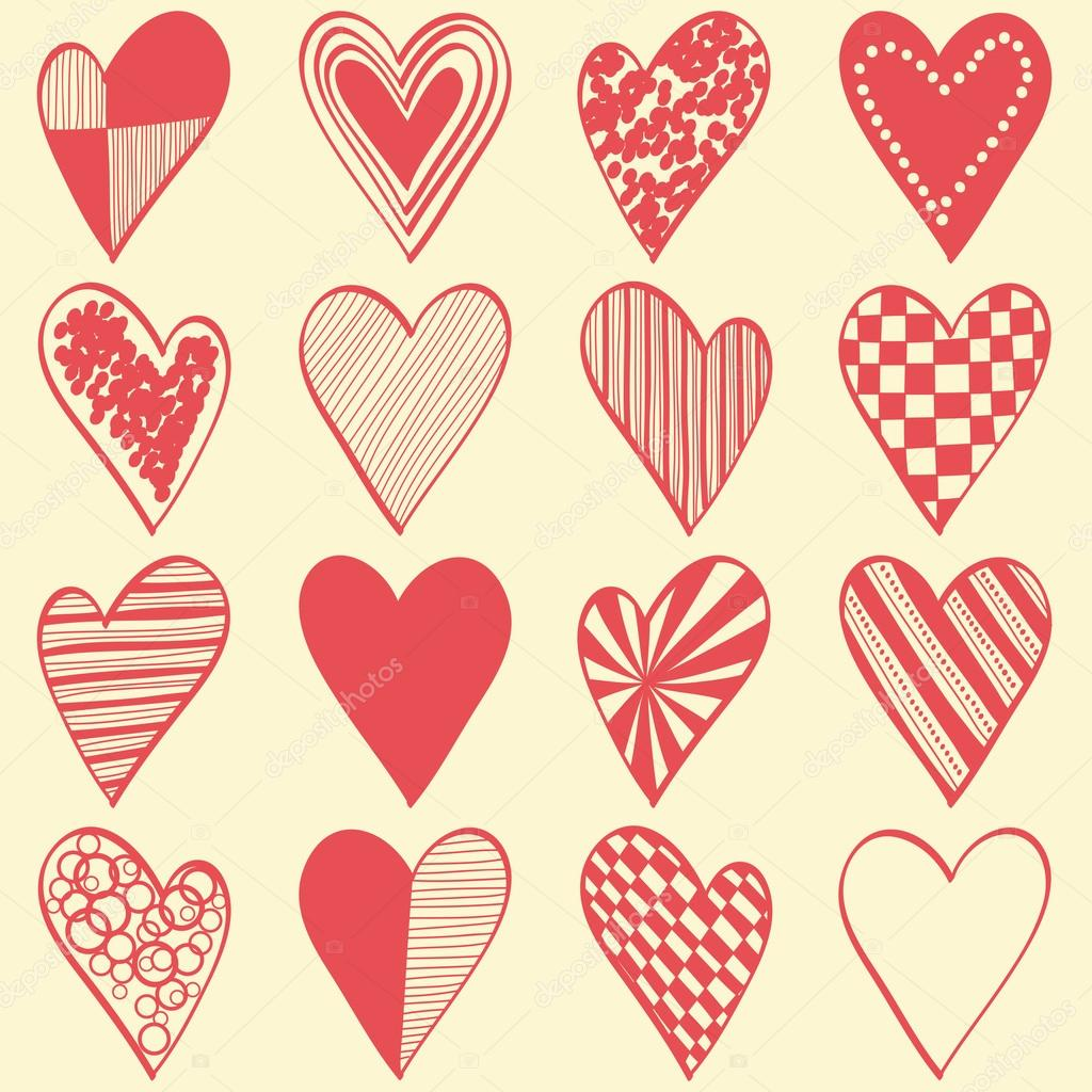 16 hand drawn different hearts organized as seamless pattern  Stock Vector #13496673