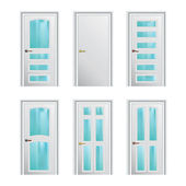 Set of 6 white doors with glass insertions. Eps10 — Stock Vector