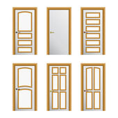 Set of 6 white painted doors. Eps10 — Stock Vector