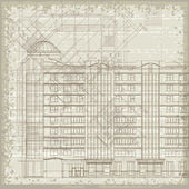 Grunge architectural background with plan and facade drawings. Eps10 — Stockvektor