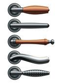 Set of five types of realistic metal door handles. Eps10 — Stock Vector