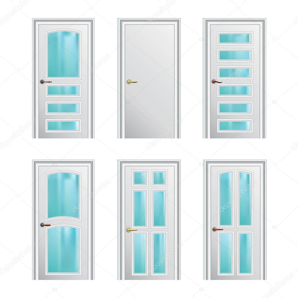 Set de 6 puertas blancas con inserciones de vidrio eps10 for Puertas blancas con vidrio