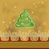クリスマス ツリー絞首刑グランジ ベージュの背景の上に。eps10 — ストックベクタ