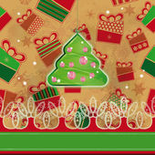 Christmas tree hanged over grunge background with presents. Eps10 — Stock Vector