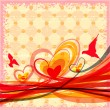 Grunge background with hearts, birds and flowing lines. Eps10 — 图库矢量图片