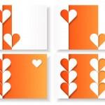 紙の心と折り紙の要素を持つ 4 つの空白のバレンタイン カードのセット — ストックベクタ