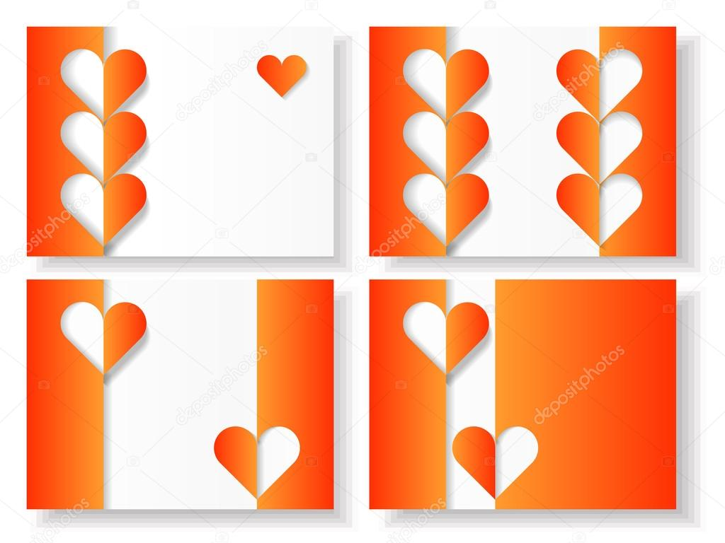 Set of four blank Valentine cards with paper hearts and origami elements. Eps10 — ベクター素材ストック #18140855