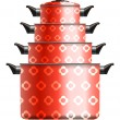 Set of four red cooking pots with flower — Stock Vector