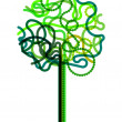 Abstract green tree symbol drawn with curled lines - Stock Vector